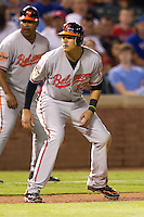 Baltimore Orioles third baseman Manny Machado #13 leads off of third base during the Major League Baseball game against the Texas Rangers on August 21st, 2012 at the Rangers Ballpark in Arlington, Texas. The Orioles defeated the Rangers 5-3. (Andrew Woolley/Four Seam Images).