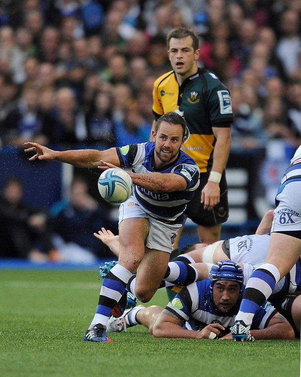 Micky Young of Bath Rugby sets up another Bath attack during the Amlin Challenge Cup Final match between Bath Rugby and Northampton Saints at Cardiff Arms Park on Friday 23rd May 2014 (Photo by Rob Munro)
