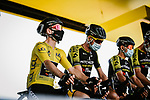 Yellow Jersey Adam Yates (GBR) and Mitchelton-Scott at sign on before the start of Stage 8 of Tour de France 2020, running 141km from Cazeres-sur-Garonne to Loudenvielle, France. 5th September 2020.<br /> Picture: ASO/Pauline Ballet | Cyclefile<br /> All photos usage must carry mandatory copyright credit (© Cyclefile | ASO/Pauline Ballet)