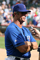 August 9, 2009:  Manager Bobby Dickerson of the Iowa Cubs does an interview after a game at Wrigley Field in Chicago, IL.  Iowa is the Pacific Coast League Triple-A affiliate of the Chicago Cubs.  Photo By Mike Janes/Four Seam Images
