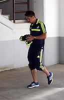Valencia, Spain. Thursday 19 September 2013<br /> Pictured: Pablo Hernandez arriving at the Estadio Mestalla. <br /> Re: UEFA Europa League game against Valencia C.F v Swansea City FC, at the Estadio Mestalla, Spain,