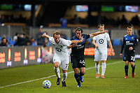 SAN JOSE, CA - MARCH 7: Chase Gasper #77 of Minnesota United battles for the ball with Cade Cowell #44 of the San Jose Earthquakes during a game between Minnesota United FC and San Jose Earthquakes at Earthquakes Stadium on March 7, 2020 in San Jose, California.