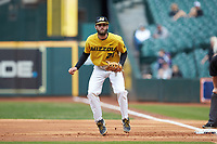 Missouri Tigers first baseman Brandt Belk (21) on defense against the Oklahoma Sooners in game four of the 2020 Shriners Hospitals for Children College Classic at Minute Maid Park on February 29, 2020 in Houston, Texas. The Tigers defeated the Sooners 8-7. (Brian Westerholt/Four Seam Images)