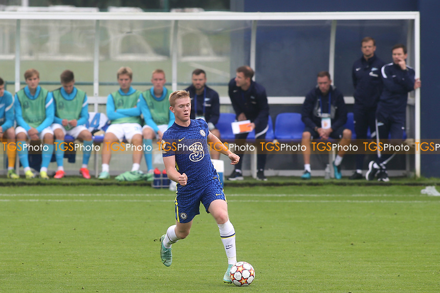 Lewis Kieran Hall of Chelsea U19's in action during Chelsea Under-19 vs FC Zenit Under-19, UEFA Youth League Football at Cobham Training Ground on 14th September 2021