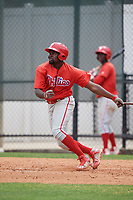 Philadelphia Phillies D.J. Stewart (10) during a Minor League Spring Training game against the Toronto Blue Jays on March 30, 2018 at Carpenter Complex in Clearwater, Florida.  (Mike Janes/Four Seam Images)