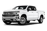 Stock pictures of low aggressive front three quarter view of a 2019 Chevrolet Silverado 1500 LTZ 4 Door Pick Up