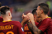 Calcio, Serie A: Roma vs Palermo. Roma, stadio Olimpico, 23 ottobre 2016.<br /> Roma's Leandro Paredes, right, celebrates with teammates after scoring during the Italian Serie A football match between Roma and Palermo at Rome's Olympic stadium, 23 October 2016. Roma won 4-1.<br /> UPDATE IMAGES PRESS/Riccardo De Luca