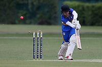 Tom Daniels of Upminster is bowled out by Harsh Kumar during Upminster CC (batting) vs Ilford CC, Hamro Foundation Essex League Cricket at Upminster Park on 8th May 2021