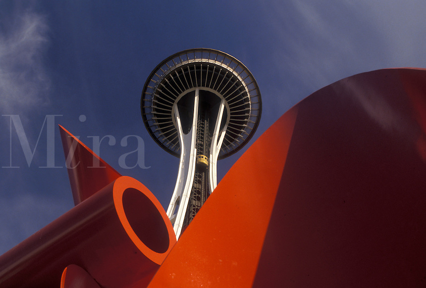 AJ3676, Seattle, Space Needle, Washington, Looking up at the Space Needle with a red sculpture below at Seattle Center in Seattle in the state of Washington.