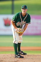 Starting pitcher Chad James #33 of the Greensboro Grasshoppers in action against the Kannapolis Intimidators at Fieldcrest Cannon Stadium August 3, 2010, in Kannapolis, North Carolina.  Photo by Brian Westerholt / Four Seam Images