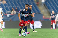 FOXBOROUGH, MA - AUGUST 5: Dennis Ramirez #37 of New England Revolution II passes the ball during a game between North Carolina FC and New England Revolution II at Gillette Stadium on August 5, 2021 in Foxborough, Massachusetts.