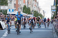 Timothy Dupont (BEL/Veranada's WIllems Crelan) wins the bunch sprint and beats Kenny Dehaes (BEL/Wanty Group Gobert) and Justin Jules (FRA/WB Veranclassic Aquality Protect)<br /> <br /> 51th GP Jef 'Poeske' Scherens 2017 <br /> Leuven - Leuven (13local laps/153.7km)