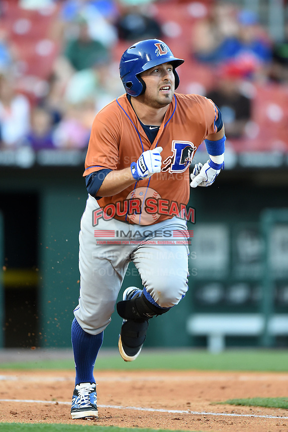 Durham Bulls catcher Ali Solis (44) runs to first during a game against the Buffalo Bisons on July 10, 2014 at Coca-Cola Field in Buffalo, New  York.  Durham defeated Buffalo 3-2.  (Mike Janes/Four Seam Images)