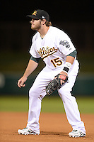 Mesa Solar Sox infielder Max Muncy (15), of the Oakland Athletics organization, during an Arizona Fall League game against the Peoria Javelinas on October 17, 2013 at HoHoKam Park in Mesa, Arizona.  Mesa defeated Peoria 6-1.  (Mike Janes/Four Seam Images)