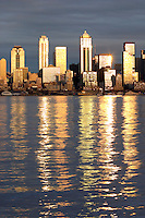 Seattle skyline reflecting in Elliot Bay viewed from West Seattle, Seattle, Washington, USA