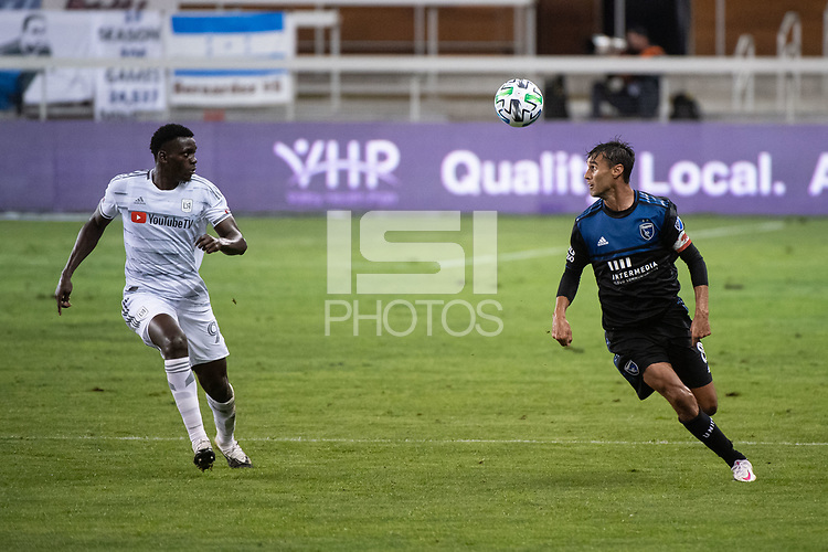 SAN JOSE, CA - NOVEMBER 04: Jesus David Murillo #94 of the Los Angeles FC watches a back heel by Chris Wondolowski #8 of the San Jose Earthquakes during a game between Los Angeles FC and San Jose Earthquakes at Earthquakes Stadium on November 04, 2020 in San Jose, California.