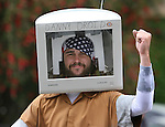 The annual memorial day parade in Mill Valley brings out all kinds including  Danny droid with a computer screen on his head.