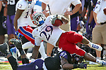 Kansas Jayhawks running back James Sims (29) in action during the game between the Kansas Jayhawks and the TCU Horned Frogs  at the Amon G. Carter Stadium in Fort Worth, Texas. TCU defeats Kansas 27 to 17.