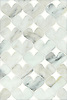 Hearts, a natural stone waterjet mosaic shown in Calacatta Tia and Thassos, is part of the Erin Adams Collection for New Ravenna.