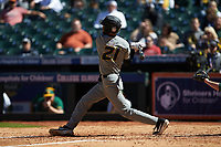 Brandt Belk (21) of the Missouri Tigers follows through on his swing against the Baylor Bears in game one of the 2020 Shriners Hospitals for Children College Classic at Minute Maid Park on February 28, 2020 in Houston, Texas. The Bears defeated the Tigers 4-2. (Brian Westerholt/Four Seam Images)