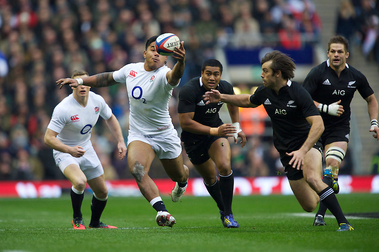 Manu Tuilagi of England shows his ball control during the QBE Autumn International match between England and New Zealand at Twickenham on Saturday 01 December 2012 (Photo by Rob Munro)
