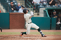 Matt Gorski (36) of the Greensboro Grasshoppers at bat against the Rome Braves at First National Bank Field on May 16, 2021 in Greensboro, North Carolina. (Brian Westerholt/Four Seam Images)