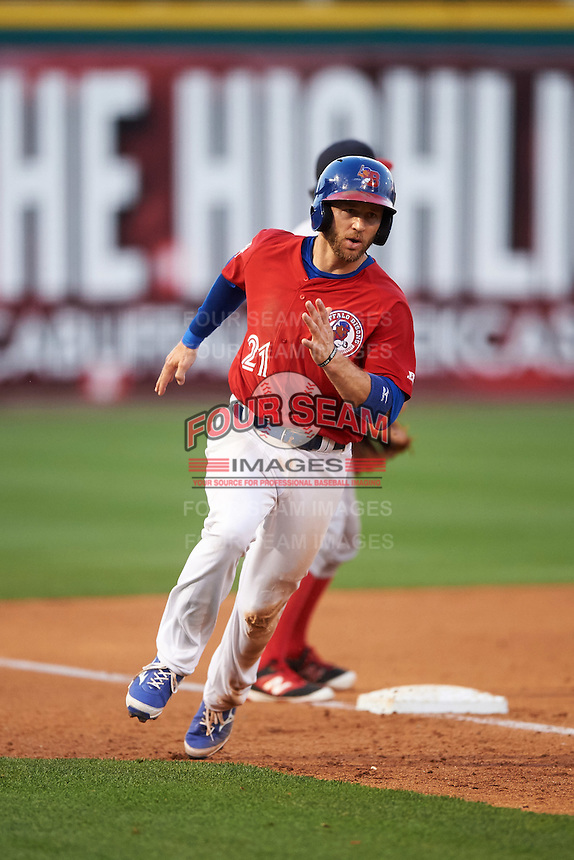 Buffalo Bisons second baseman David Adams (21) scores a run during a game against the Louisville Bats on June 22, 2016 at Coca-Cola Field in Buffalo, New York.  Buffalo defeated Louisville 8-1.  (Mike Janes/Four Seam Images)