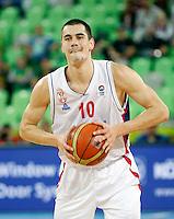 Nikola Kalinic of Serbia in action during European basketball championship Eurobasket 2013, round 2, group E  basketball game between Serbia and France in Stozice Arena in Ljubljana, Slovenia, on September 15. 2013. (credit: Pedja Milosavljevic  / thepedja@gmail.com / +381641260959)