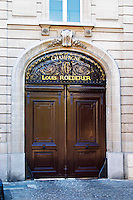 The entrance door to Champagne Louis Roederer, Reims, Champagne, Marne, Ardennes, France