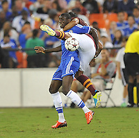 Demba Ba (19) of Chelsea FC gets fouled by Mehdi Benatia (17) of AS Roma.  Chelsea FC defeated AS Roma 2-1, during an international friendly , at RFK Stadium, Saturday August 10 , 2013.
