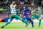 Jose Paulo Bezerra Maciel Junior, Paulinho, of FC Barcelona (C) fights for the ball with Gonzalo Escalante of SD Eibar (L) and Joan Jordan Moreno of SD Eibar (R) during the La Liga 2017-18 match between FC Barcelona and SD Eibar at Camp Nou on 19 September 2017 in Barcelona, Spain. Photo by Vicens Gimenez / Power Sport Images