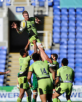 James Craig of Northampton Saints wins the lineout ball during the Premiership Rugby match between London Irish and Northampton Saints at the Madejski Stadium on Saturday 4th October 2014 (Photo by Rob Munro)
