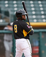 Eric Young Jr. (8) of the Salt Lake Bees at bat against the El Paso Chihuahuas in Pacific Coast League action at Smith's Ballpark on April 30, 2017 in Salt Lake City, Utah. El Paso defeated Salt Lake 12-3. This was Game 2 of a double-header originally scheduled on April 28, 2017. (Stephen Smith/Four Seam Images)