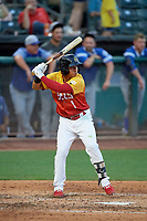 Wilfredo Tovar (1) of the Salt Lake Bees at bat against the Oklahoma City Dodgers at Smith's Ballpark on August 1, 2019 in Salt Lake City, Utah. The Bees defeated the Dodgers 14-4. (Stephen Smith/Four Seam Images)