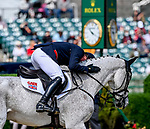 April 25, 2021: Oliver Townend reacts with joy after a double clear round in the Stadium Jumping finals to win the Land Rover 5* 3-Day Event aboard Ballaghmor Class at the Kentucky Horse Park in Lexington, Kentucky. John Voorhees/Eclipse Sportswire/CSM