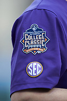 A close-up of the patch worn by the LSU Tigers during the game against the Baylor Bears in game five of the 2020 Shriners Hospitals for Children College Classic at Minute Maid Park on February 29, 2020 in Houston, Texas. The Bears defeated the Tigers 6-4. (Brian Westerholt/Four Seam Images)