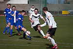 Edinburgh City v Spartans, 11/04/2015. Commonwealth Stadium, Scottish Lowland League. Second-half action at the Commonwealth Stadium at Meadowbank during the Scottish Lowland League match between Edinburgh City (white shirts) and city rivals Spartans, which was won by the hosts by 2-0. Edinburgh City were the 2014-15 league champions and progressed to a play-off to decide whether there would be a club promoted to the Scottish League for the first time in its history. The Commonwealth Stadium hosted Scottish League matches between 1974-95 when Meadowbank Thistle played there. Photo by Colin McPherson.