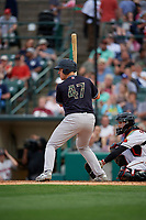 Scranton/Wilkes-Barre RailRiders Erik Kratz (47) bats during an International League game against the Rochester Red Wings on June 24, 2019 at Frontier Field in Rochester, New York.  Rochester defeated Scranton 8-6.  (Mike Janes/Four Seam Images)