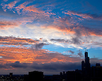 Sunset on the city of Chicago highrises.