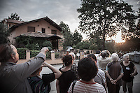 """People gazes at the Sun in the late noon trying to spot the so called """"spinning sun"""" miracle. <br /> Bijakovici, Medjugorje, Bosnia and Herzegovina."""