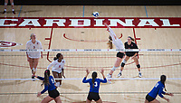 STANFORD, CA - December 1, 2017: Jenna Gray, Kathryn Plummer, Tami Alade, Morgan Hentz at Maples Pavilion. The Stanford Cardinal defeated the CSU Bakersfield Roadrunners 3-0 in the first round of the NCAA tournament.