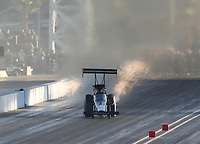 Nov 2, 2019; Las Vegas, NV, USA; NHRA top fuel driver Mike Salinas during qualifying for the Dodge Nationals at The Strip at Las Vegas Motor Speedway. Mandatory Credit: Mark J. Rebilas-USA TODAY Sports