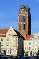 Turm der Marienkirche in Wismar, Mecklenburg-Vorpommern, Deutschland, UNESCO-Weltkulturerbe