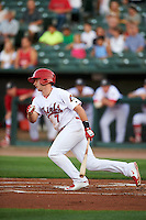 Peoria Chiefs third baseman Paul DeJong (7) at bat during a game against the Wisconsin Timber Rattlers on August 21, 2015 at Dozer Park in Peoria, Illinois.  Wisconsin defeated Peoria 2-1.  (Mike Janes/Four Seam Images)