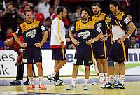 Spanish handball players after loosing  men`s EHF EURO 2012 championship semifinal handball game against Denmark in Belgrade, Serbia, Friday, January 27, 2011.  (photo: Pedja Milosavljevic / thepedja@gmail.com / +381641260959) Tomas Victor, Garcia Juan Antonio