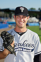 Staten Island Yankees pitcher Evan DeLuca #26 poses for a photo before a game against the Batavia Muckdogs at Dwyer Stadium on July 30, 2012 in Batavia, New York.  Batavia defeated Staten Island 5-4 in 11 innings.  (Mike Janes/Four Seam Images)