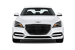 Car photography straight front view of a 2018 Genesis G80 RWD 4 Door Sedan