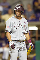 Texas A&M Aggies outfielder Jonathan Moroney (40) walks back the dugout after striking out during a Southeastern Conference baseball game against the LSU Tigers on April 24, 2015 at Alex Box Stadium in Baton Rouge, Louisiana. LSU defeated Texas A&M 9-6. (Andrew Woolley/Four Seam Images)