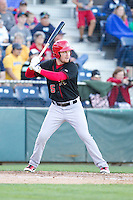 Sean Hurley (15) of the Vancouver Canadians at bat during a game against the Everett Aquasox at Everett Memorial Stadium in Everett, Washington on July 16, 2015.  Vancouver defeated Everett 5-4. (Ronnie Allen/Four Seam Images)