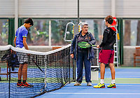 Hilversum, Netherlands, December 3, 2017, Winter Youth Circuit Masters, 12,14,and 16 years, Luka Novakovic (NED) (R) and Christopher Lam (NED) at the toss<br /> Photo: Tennisimages/Henk Koster